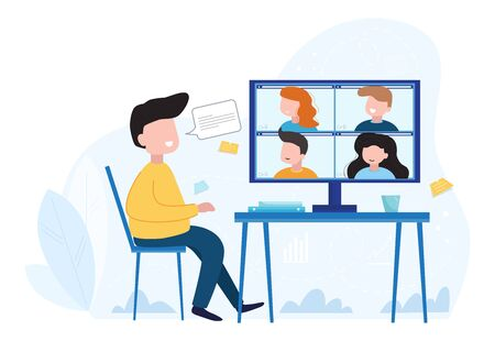 Concept social networking, web, online meetings. Video conference illustration. Group of people talking by internet. Stream, web chatting, online meeting friends.