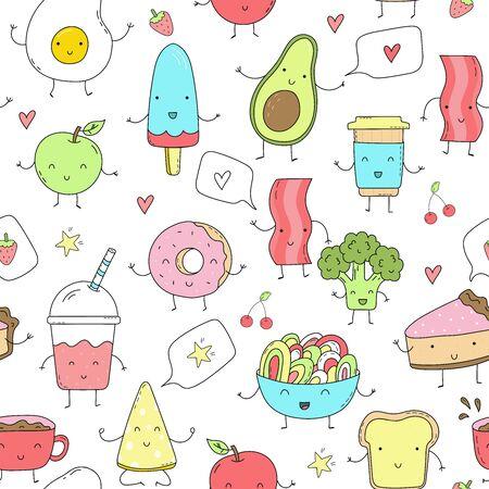 Cute hand drawn set with Funny Cartoon food. Vector kawaii food. Seamless pattern.