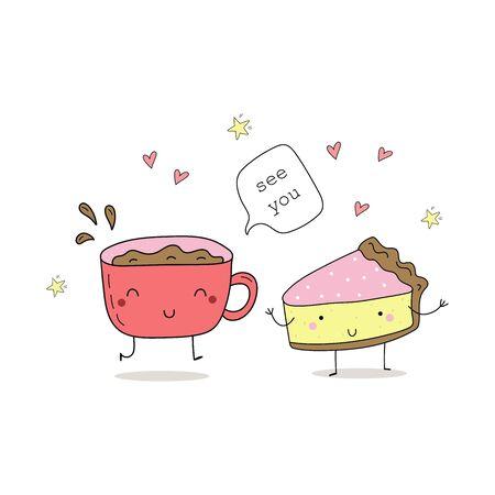 Cute hand drawn set with Funny Cartoon food. Vector kawaii food.  イラスト・ベクター素材