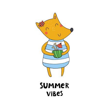 summer card. Cute hand drawn with funny cute fox cartoon style. vector print