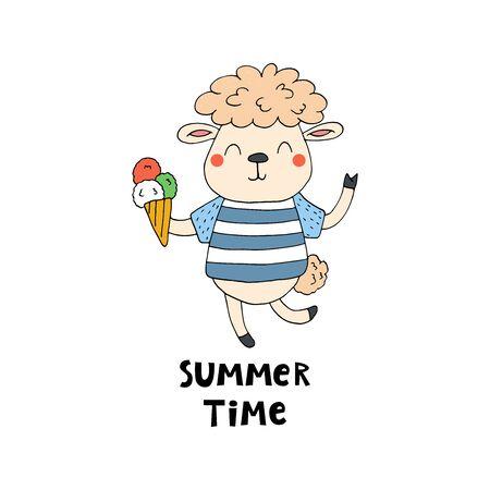 summer card. Cute hand drawn with funny cute sheep cartoon style. vector print