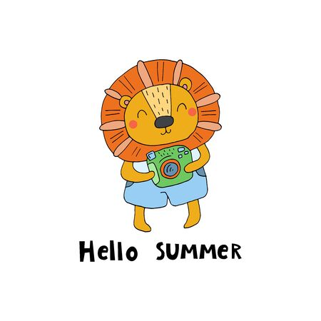summer card. Cute hand drawn with funny cute lion cartoon style. vector print
