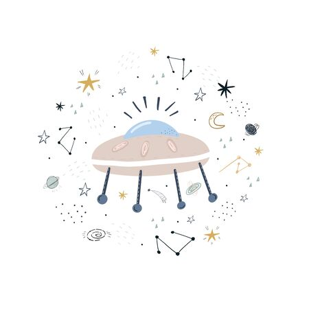 Cute hand drawn with space rocket. Perfect for kids apparel,fabric, textile, nursery decoration,wrapping paper.