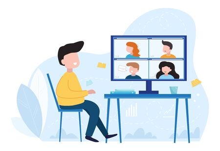 Concept social networking, web, online meetings. Video conference illustration. Group of people talking by internet. Stream, web chatting, online meeting friends. Coronavirus, quarantine isolation. Video call conference, working from home, social distancing, business discussion Vector flat illustration.