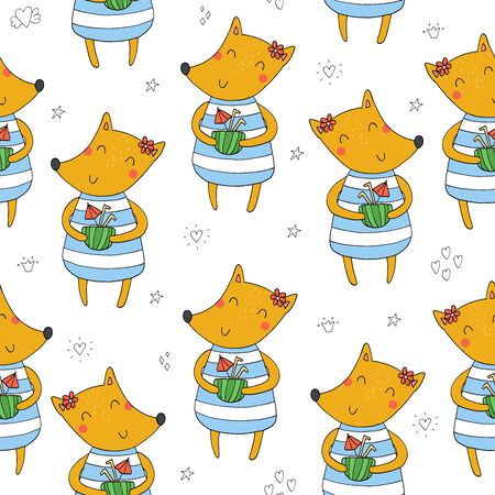 Lovely seamless pattern with cute foxes. Awesome background in bright colors in vector  イラスト・ベクター素材