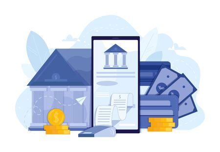 Mobile banking and finance management UI illustration. Digital bank service fintech concept in flat. vector illustration of virtual business assistant. Vektorgrafik