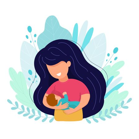 Vector cartoon illustration of Beautiful mother breastfeeds her baby child holding him in hands. Breastfeeding illustration. Mother feeds a baby on leaves background. Concept vector illustration in cartoon style.
