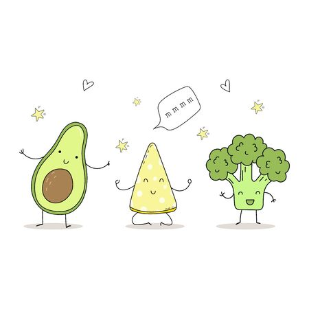 Cute hand drawn set with Funny Cartoon food. Vector kawaii food. avocado, broccoli Çizim