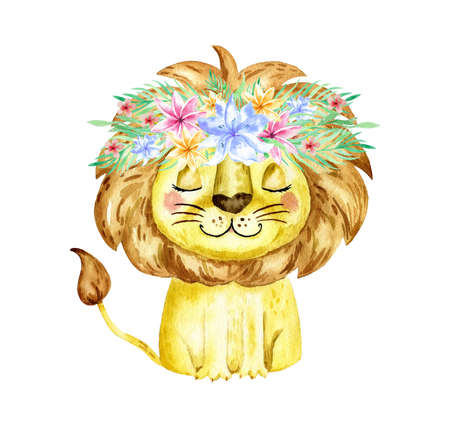 Watercolor illustration with a lion. Watercolor cartoon lion savanna animal illustration. Jungle savannah tropical exotic summer print. Standard-Bild