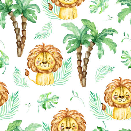 seamless tropical pattern with a lion. Watercolor cartoon lion savanna animal illustration. Jungle savannah tropical exotic summer print.