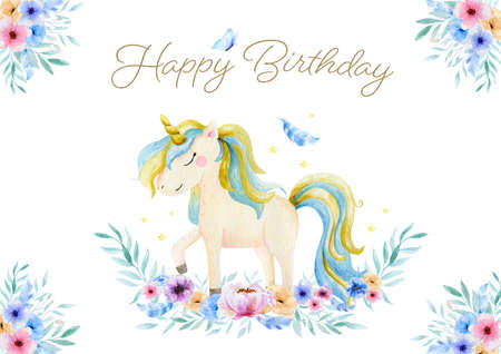 Cute watercolor unicorn and flowers clipart. Nursery unicorns illustration. Princess unicorns poster. Trendy cartoon horse. Happy Birthday card Standard-Bild
