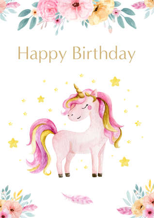Hand drawn greeting card white cute watercolor unicorn and flowers clipart. Nursery unicorns illustration. Princess unicorns poster. Trendy pink cartoon horse. Happy birthday. Standard-Bild