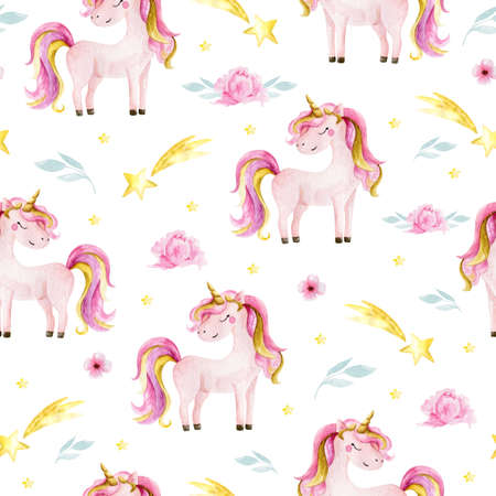 Cute watercolor seamless pattern with unicorn. Nursery unicorns illustration. Standard-Bild