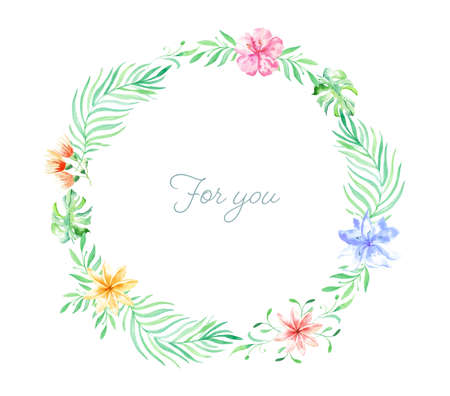 Watercolor wreath with tropical flowers, leaves. Hawaiian exotic illustrations for greeting card, wedding, wallpaper Standard-Bild