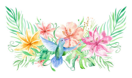 Watercolor bouqet with tropical flowers, leaves and hummingbird. Hawaiian exotic illustrations for greeting card, wedding, wallpaper Standard-Bild