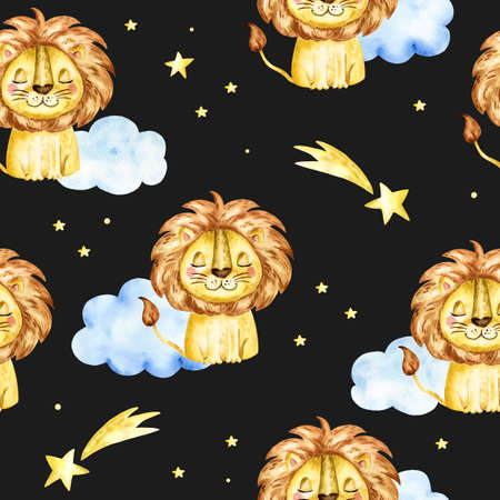 seamless pattern with a lion. Watercolor cartoon lion savanna animal illustration. Standard-Bild