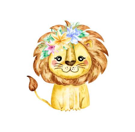 Watercolor illustration with a lion. Watercolor cartoon lion savanna animal illustration. Jungle savannah tropical exotic summer print.