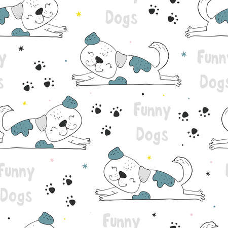 Seamless pattern with dog. Vector print with cute funny fashionable dogs. Vector illustration.
