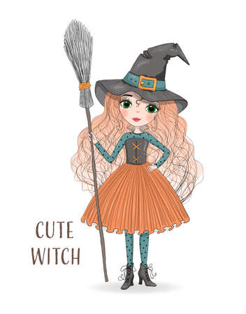 Cute cartoon witch in orange skirt and hat with a broom in hand. Hand drawn beautiful little Halloween Witch. Vector illustration.