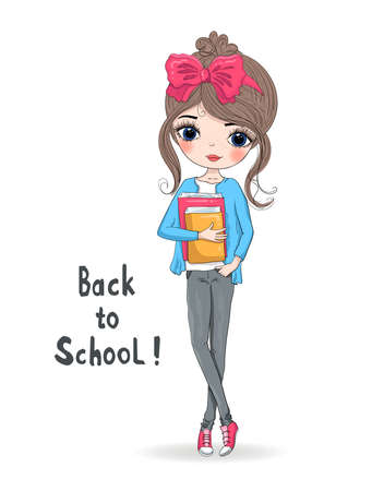Hand drawn beautiful cute schoolgirl with book. Background with the inscription Back to School. Vector illustration.