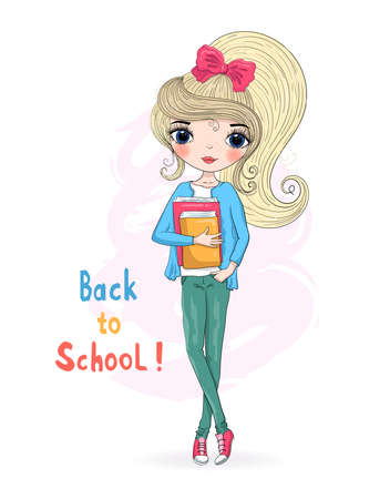 Hand drawn beautiful cute blonde schoolgirl with book. Background with the inscription Back to School. Vector illustration.