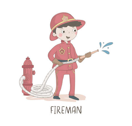 Cartoon illustration of a firefighter. Kids workers. Child professional