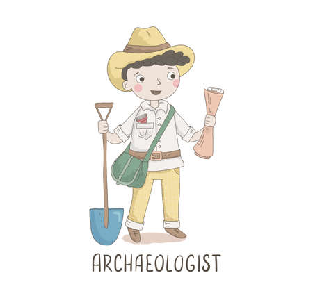 Cartoon illustration of a archaeologist . Kids workers. Child professional. Cute vector alphabet. Letter A - archaeologist. Illustration