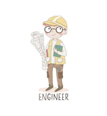 Cartoon illustration of a engineer. Kids workers. Child professional. Cute vector alphabet. Letter E - engineer. Illustration