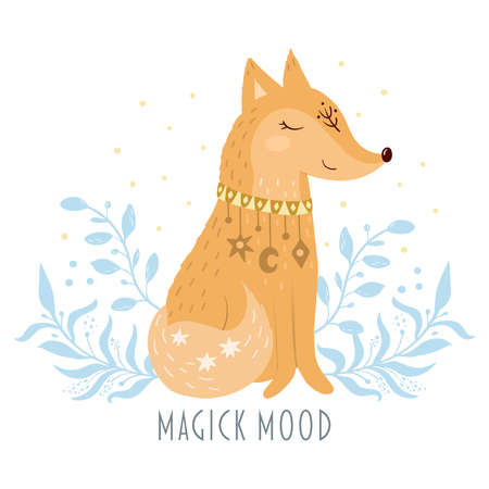 Fox vector illustration for kids. Bohemian illustrations with animals, stars, magic and runes. Cute animal in the Scandinavian style. Hand drawn fox illustration