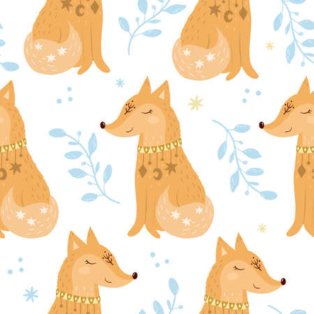 Seammless pattern. Fox vector illustration for kids. Bohemian illustrations with animals, stars, magic and runes. Cute animal in the Scandinavian style. Hand drawn fox illustration