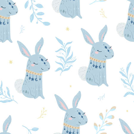 Seammless pattern. Rabbit vector illustration for kids. Bohemian illustrations with animals, stars, magic and runes. Cute animal in the Scandinavian style. Illustration
