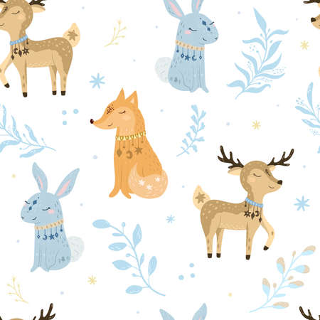 Seammless pattern. Bohemian illustrations with animals, stars, magic and runes. Cute animals in the Scandinavian style. Hand drawn deer, fox, rabbit, bunny illustration for kids. Illustration