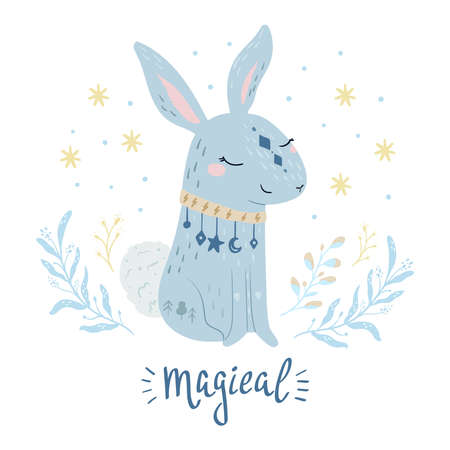 Rabbit vector illustration for kids. Bohemian illustrations with animals, stars, magic and runes. Cute animal in the Scandinavian style. Hand drawn bunny illustration