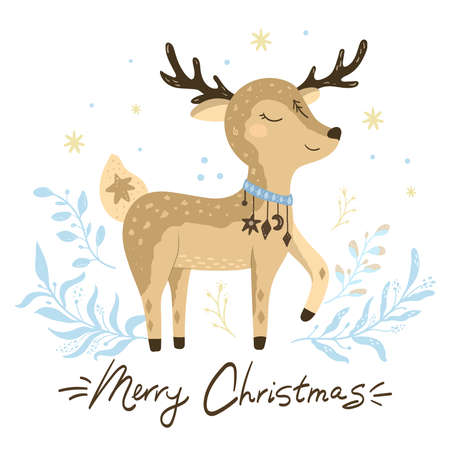 Deer vector illustration for kids. Bohemian illustrations with animals, stars, magic and runes. Cute animal in the Scandinavian style. Hand drawn deer illustration Illustration
