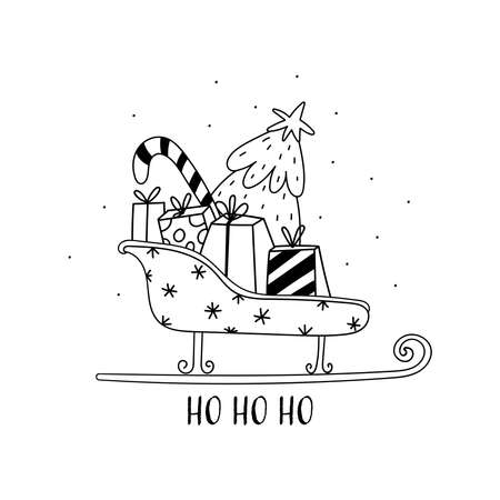 Hand drawn Vector card with santa claus sleigh, gift boxes, christmas tree. Scandinavian style. Holiday card, hand drawn background.
