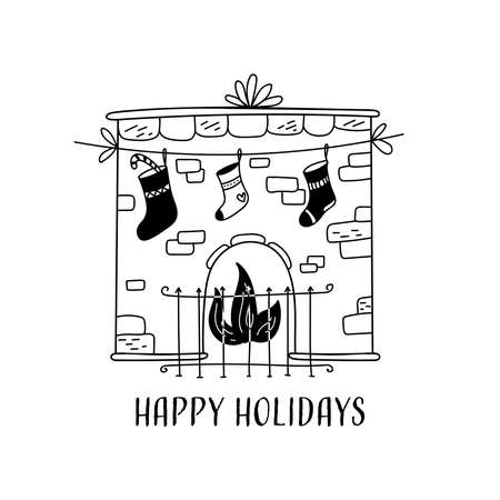 Hand drawn Vector card with christmas fireplace. Scandinavian style. Holiday card, hand drawn background.