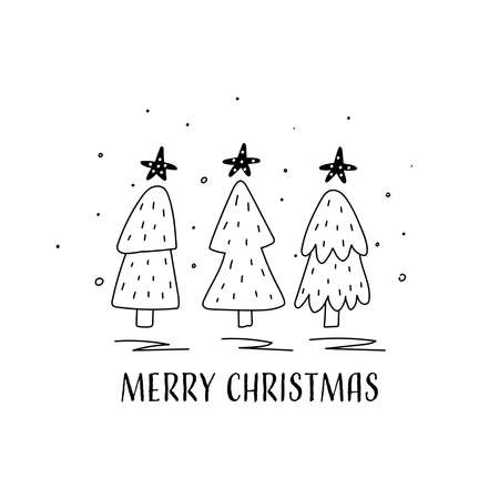 Hand drawn Vector card with christmas tree. Scandinavian style. Holiday card, hand drawn background. Illustration