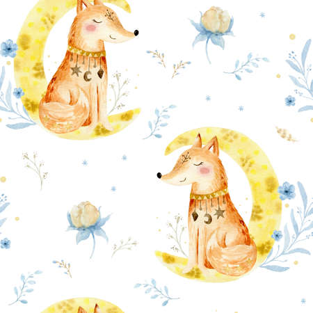 Hand drawn watercolor Seammless pattern. Fox illustration for kids. Bohemian illustrations with animals, stars, magic and runes.