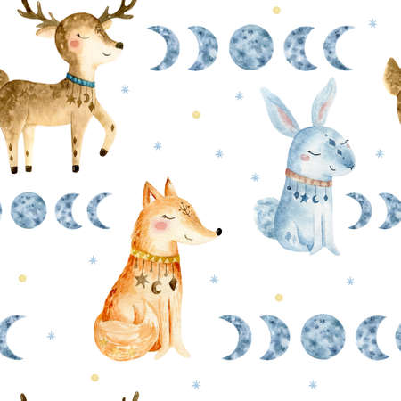 Hand drawn watercolo Seammless pattern. Bohemian illustrations with animals, stars, magic and runes. Cute animals in the Scandinavian style.