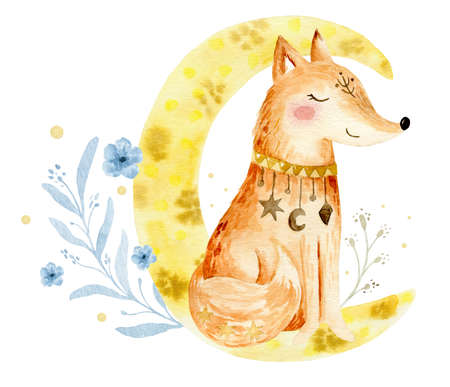 Hand drawn watercolor Fox illustration for kids. Bohemian illustrations with animals, stars, magic and runes. Standard-Bild