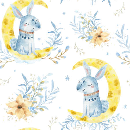 Hand drawn watercolo Seammless pattern. Rabbit illustration for kids. Bohemian illustrations with animals, stars, magic and runes.
