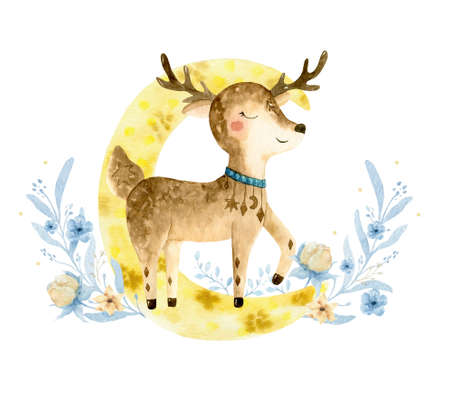 Hand drawn watercolo Deer illustration for kids. Bohemian illustrations with animals, stars, magic and runes. Standard-Bild