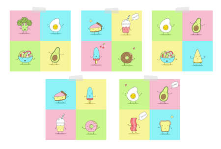 Cute hand drawn set with Funny Cartoon food. Vector kawaii food. avocado, broccoli.