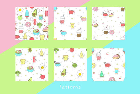 Cute hand drawn set with Funny Cartoon food. Vector kawaii food. Seamless pattern Illustration