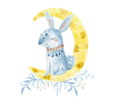 Hand drawn watercolo Rabbit illustration for kids. Bohemian illustrations with animals, stars, magic and runes.