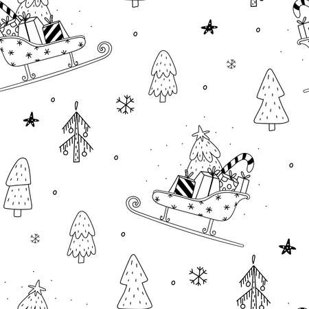 Seamless pattern vector illustration. Cozy Rustic Merry Christmas pattern. Scandinavian print - Happy new year in doodle style. Illustration