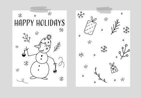 Hand drawn Vector card with snowman, gift boxes, christmas tree. Scandinavian style. Holiday card, hand drawn background.