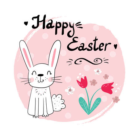 Easter bunny with a handwritten headline Happy Easter. Vector illustration. Hand drawn Vector card Illustration