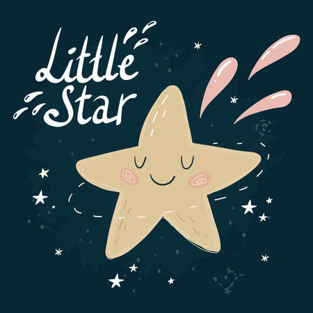 Cute cartoon stars in the night sky. Good night vector pattern. Little Star
