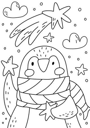 Penguin coloring book for kids and adults. Beautiful christmas coloring page.